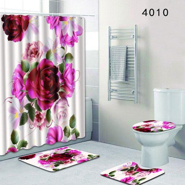 4 pz Modello Naturale Rosa Rosa Fiore Rosso Bagno in Poliestere Tenda Della Docc