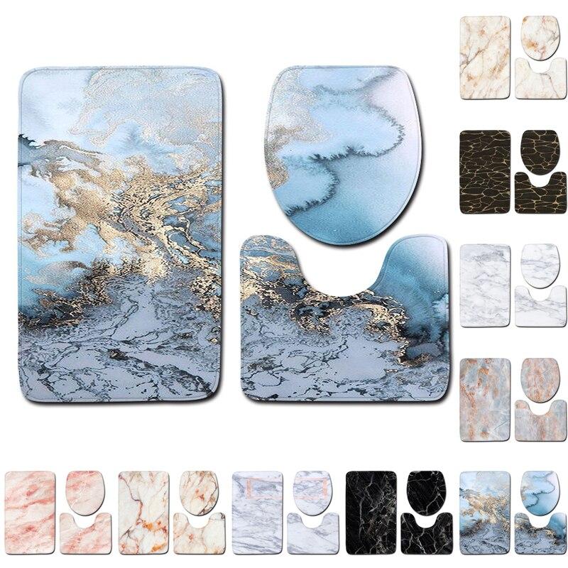 3pcs/Set Marble Pattern Non Slip Rug Toilet Lid Cover Bath Mat Bathroom Decor-in Bath Mats From