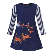 AmzBarley Toddler Girl Cartoon Animal Dress Stripe Long sleeves Cotton Casual Kids Birthday Party outfits Autumn clothes
