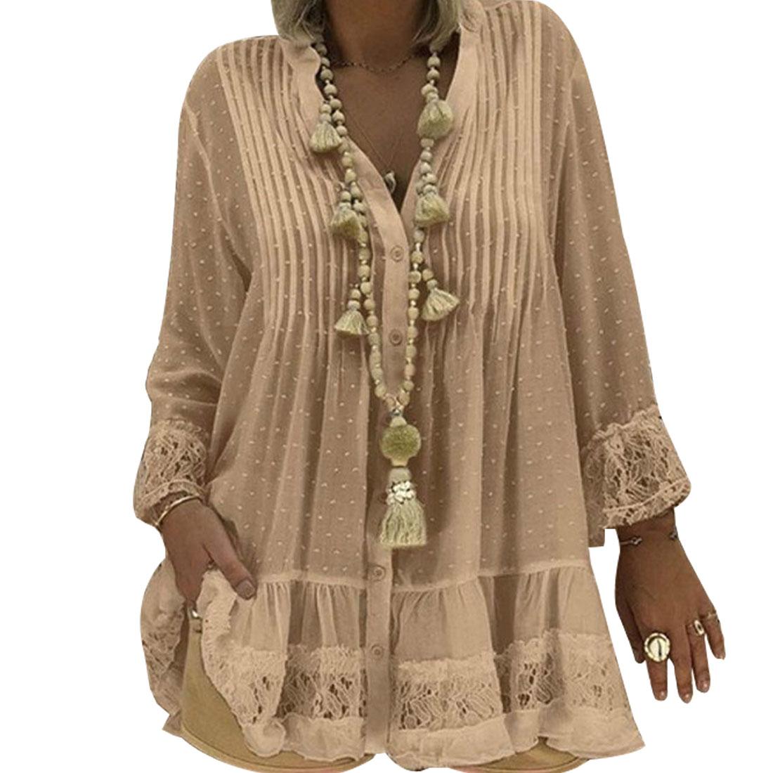 2020 Large Size 4xl 5xl Summer Clothing Lace Shirts Loose Chiffon Dress Loose blouse shirt Sleeve V Neck Shirt Female BlousesBlouses & Shirts   -
