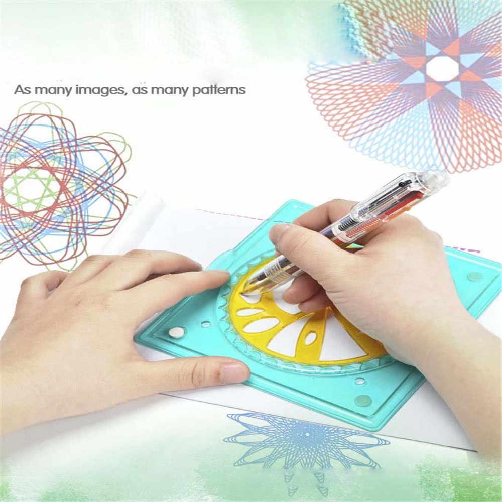22 sztuk ABS malowanie rysunek milion kwiat linijka wielofunkcyjne Puzzle luksusowe kopiowanie geometryczne Gears linijka narzędzia kreślarskie zabawki dla dzieci