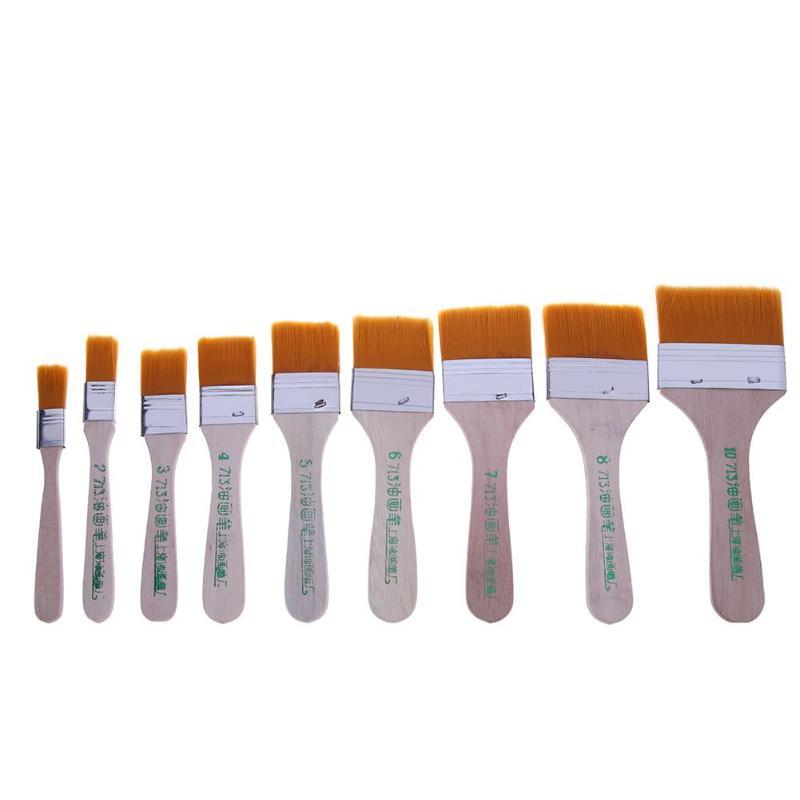 9 unids/set artista pintura pinceles mango de madera cepillo de limpieza cepillo de barniz cepillos de cerdas de aceite pinceles de pintura arte suministros