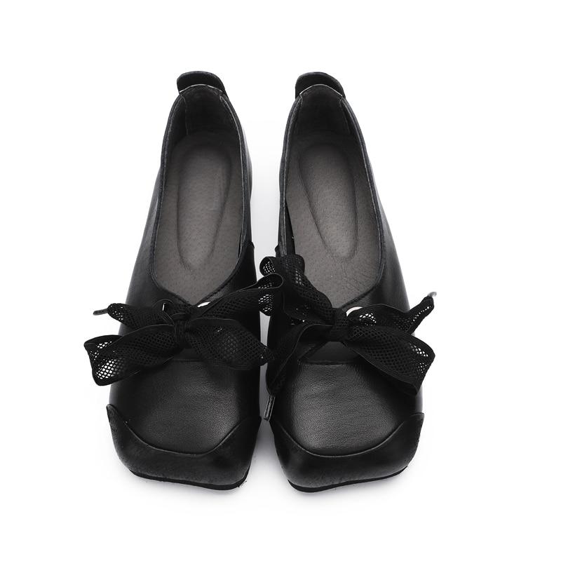 Printemps Slipona jaune Véritable Chaussures Cuir Espadrilles Mocassins De Noir Plats Pour D'été Ballet Femmes Paresseux 2019 ZISvq