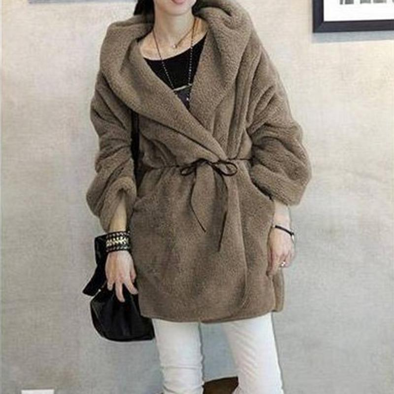 Fashionable Cloak Hooded Plush Jacket Thickening Lamb Warm Versatile Jacket With Belt In Autumn And Winter