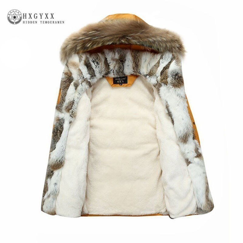 Мех енота теплая белая утка перо пальто Длинная зимняя куртка Для женщин Парка на пуху плюс Размеры 2018 шерсть кролика верхняя одежда с капюш...