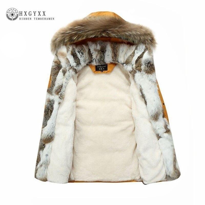 Fourrure de raton laveur chaud blanc canard plume manteau longue veste d'hiver femmes vers le bas Parka grande taille 2019 lapin cheveux vêtements d'extérieur à capuche Okd449