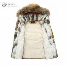 Мех енота теплая белая утка перо пальто Длинная зимняя куртка Для женщин Парка на пуху плюс Размеры 2018 шерсть кролика верхняя одежда с капюшоном Okd449