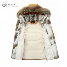 7c060edf39d De piel de mapache caliente blanco plumas de pato abrigo largo chaqueta de  invierno mujeres Parka Plus tamaño 2019 pelo de conej.
