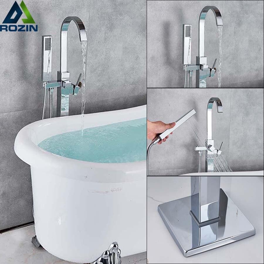 Chrome Waterfall Bathtub Faucet Floor Mounted Bathroom Tub Mixer Tap Freestanding Bath Tub Sink Mixers with