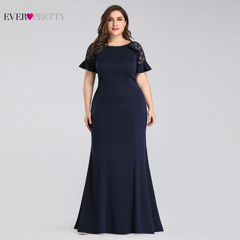 Image 3 - Plus Size Mother of the Bride Dresses 2020 Ever Pretty Elegant Navy Blue Mermaid Short Sleeve Lace Wedding Guest Party GownsMother of the Bride Dresses   -