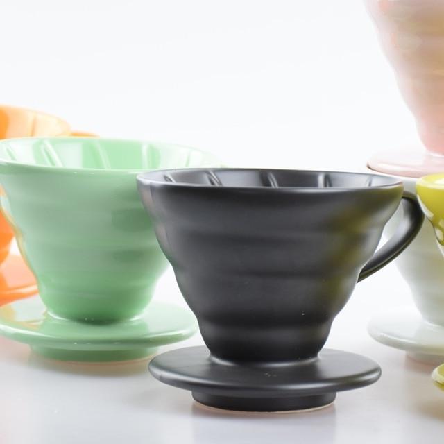 1PC High Quality Ceramic Coffee Drip V60 Percolators V02 2-4 Cups Filter Cup Made in China Espresso Kettle Dripper
