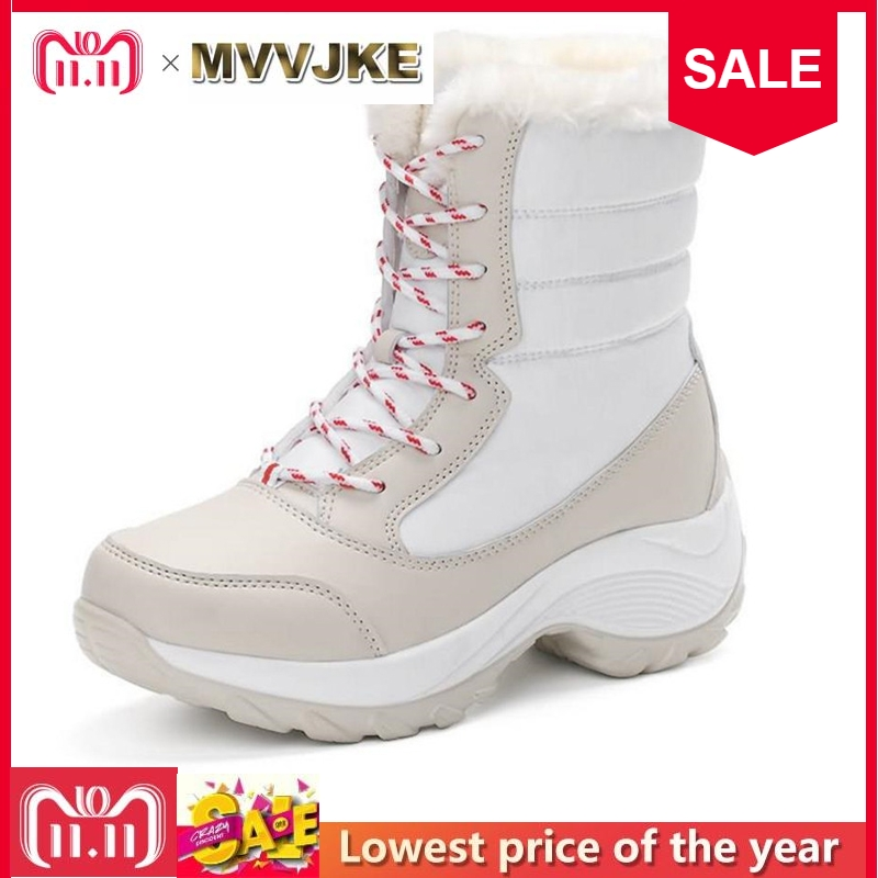 MVVJKE 2018 women snow boots winter warm boots thick bottom platform waterproof ankle boots for women thick fur cotton shoes women boots 2018 thick plush warm leather women winter shoes waterproof platform ankle snow boots