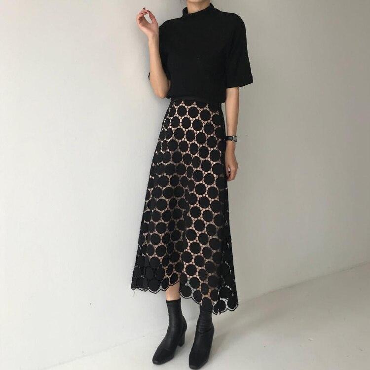 2019 Spring Summer New Pattern High Waist Solid Patchwork Lace Dot Print Mesh Long Loose High Street Skirt Women