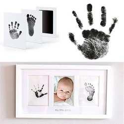 Детский коврик с принтом лапы для ног с принтом фото Подушка рамы Inkless Wipe Детский комплект-Ручная ножная печать Keepsake новорожденный