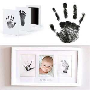 Pad Handprint Inkless Photo-Frame Keepsake Kit-Hand Baby Wipe Paw