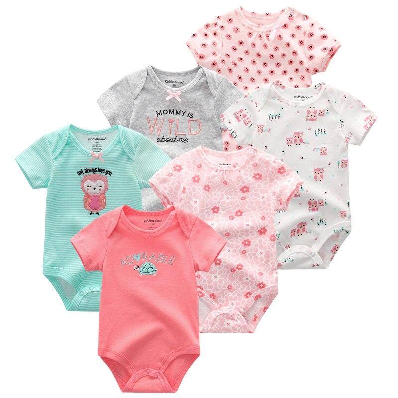 2019 6PCS/Lot Short Sleeve Kids Clothes Cotton Unicorn Baby Girl Clothes Newborn Roupa de bebe Baby Boy Clothes Clothing Sets 1