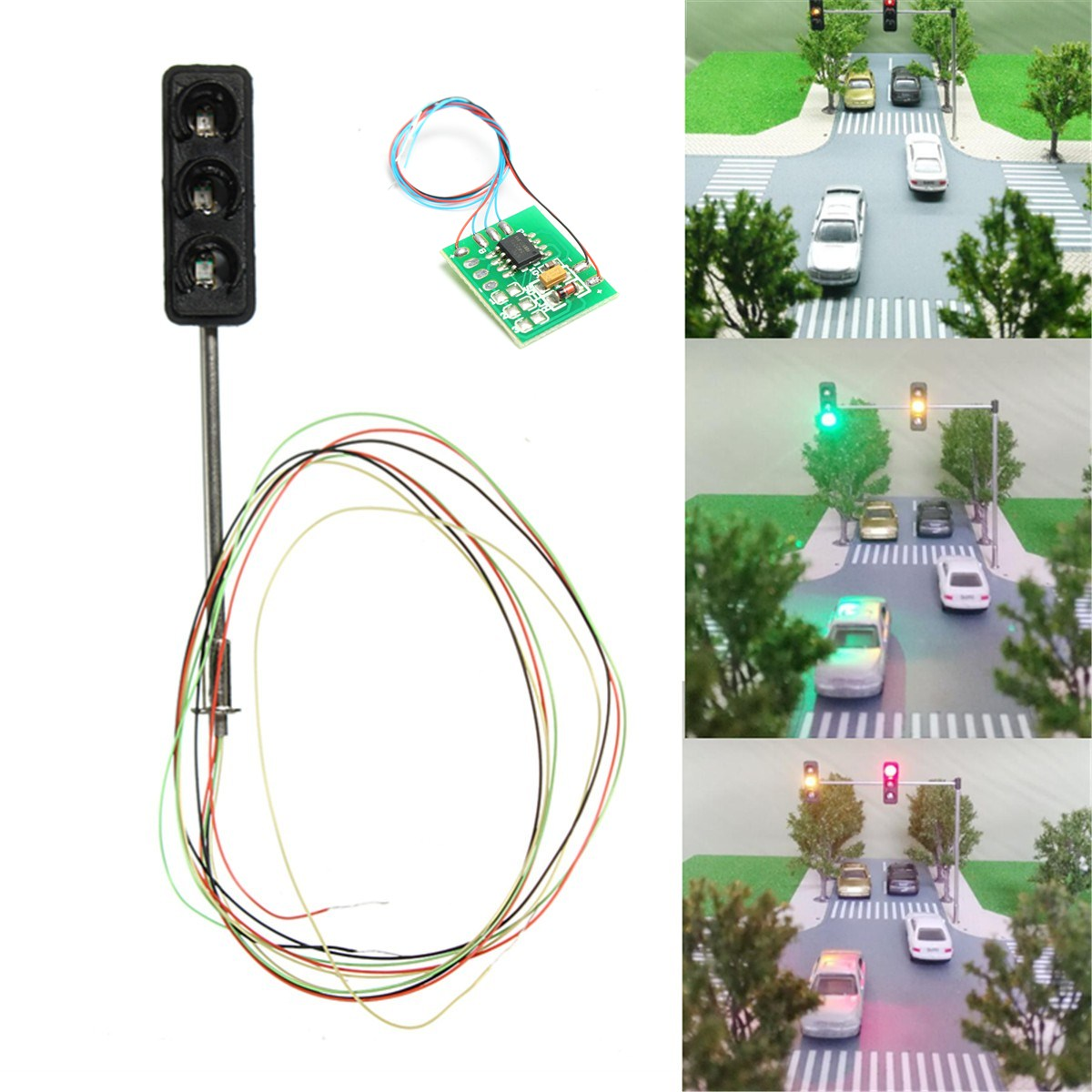 1Set Traffic Light Signal HO OO Scale LED Model Architecture Train Railroad Crossing Walk Street + Circuit Board