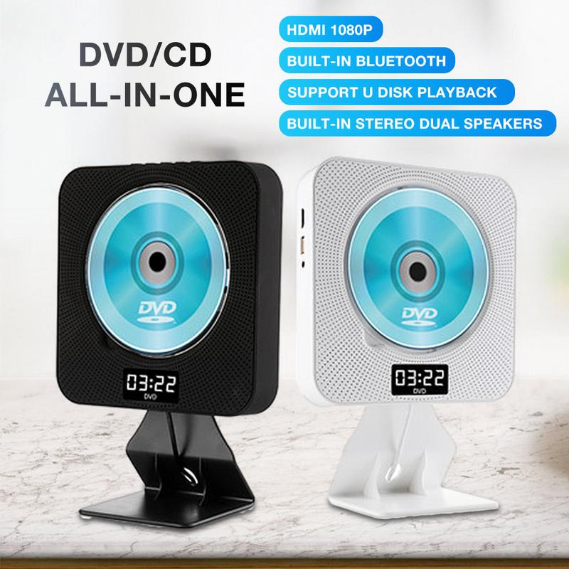 Lecteur DVD lecteur CD mural affichage de LED multi-fonction HDMI 1080 P Compatible Bluetooth USB télécommande avec couvercle anti-poussière