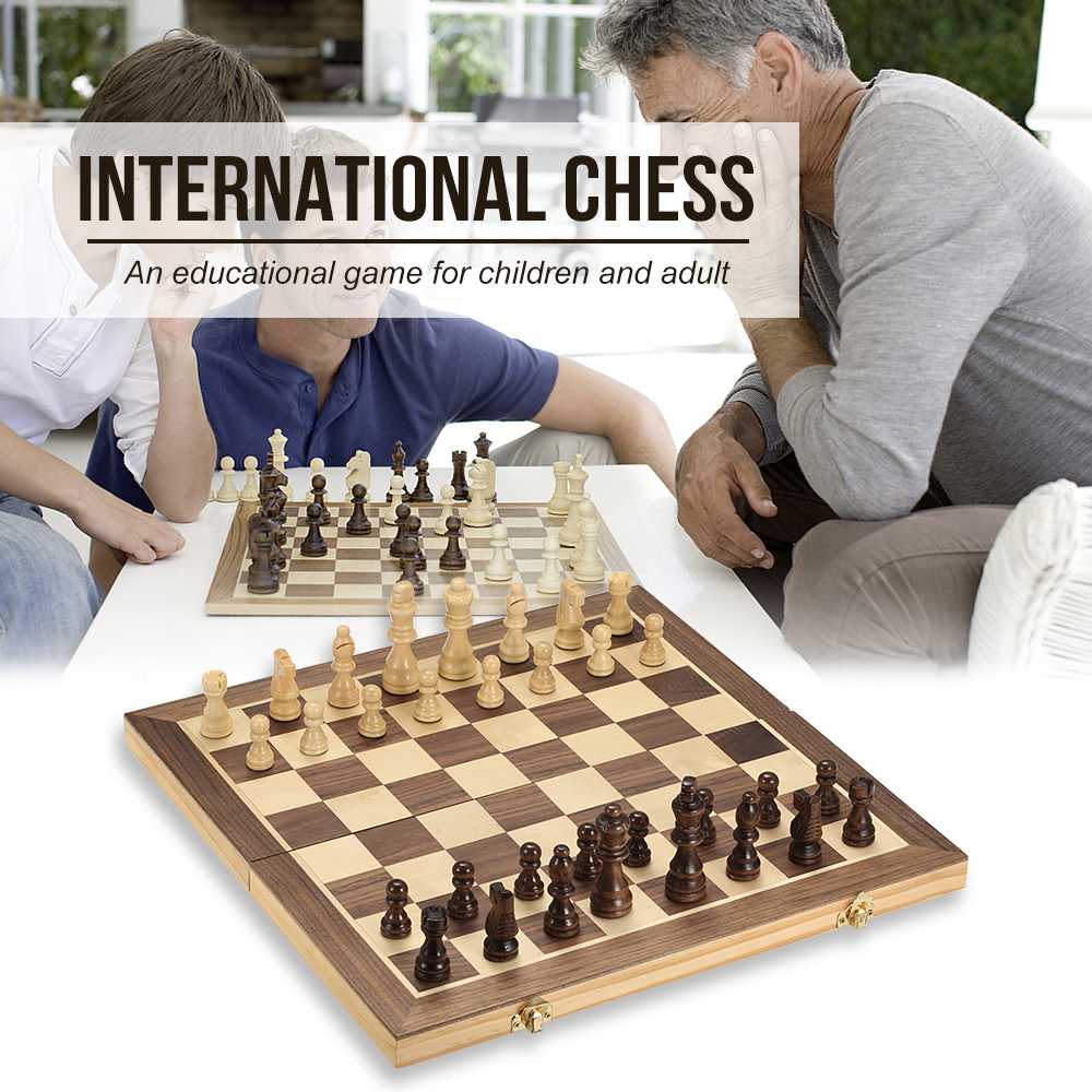 Foldable Wooden Chess Set International Chess Entertainment Game Chess Set Folding Board Educational Magnetic Chess