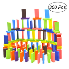 300 шт красочные деревянные кости домино набор гоночная игрушка игра здание и Пирамидка блоки
