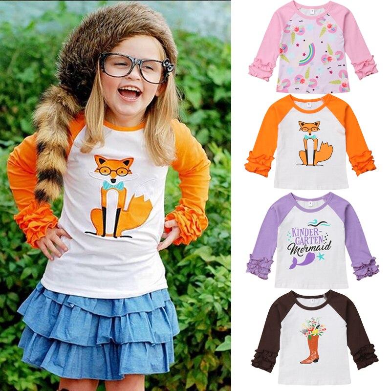 1-6 T Infant Kinder Baby Mädchen Kleidung Rüschen Langarm T Shirt Cartoon T-shirt Top Baumwolle Niedliche Prinzessin Kind Outfits