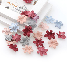 30PCS Five-Petal Flower Microfiber Leather Fabric Three-Dimensional Embossed Flowers DIY Handmade Accessories Supplies
