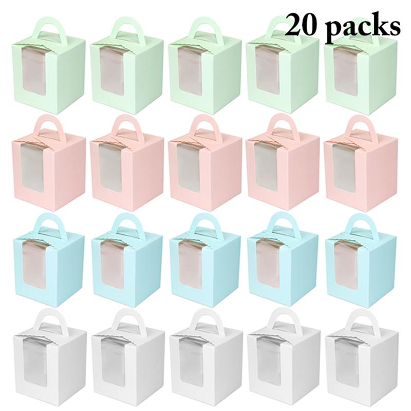 Cute Mini Biscuit Candy Box Single Muffin Box Portable Pink Window Cupcake Box Mousse Mud Pudding Bottle Packaging Cup Gift