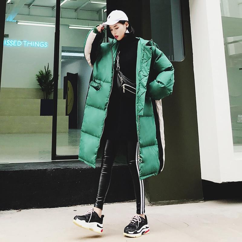 Con Invierno Moda Espesar Abrigo Parka Mujer Cálido Wadded Suelto green Mujeres Acolchado Creamy White Chaqueta Algodón Larga 330 2018 De Las Capucha 507q8wx