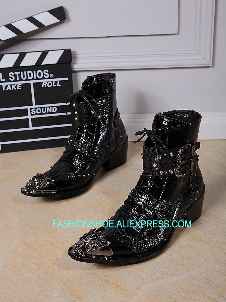 Plus Size 2019 38-46 Mens Leather Ankle Boots Low heels Men Cowboy Oxfords Martin Booties Metal Tip Studded Buckle Riding Shoes