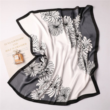 Ruicesstai 2019 new silk scarf for women elegant floral printed square scarves lady neckerchief foulard bandana shawls and wraps