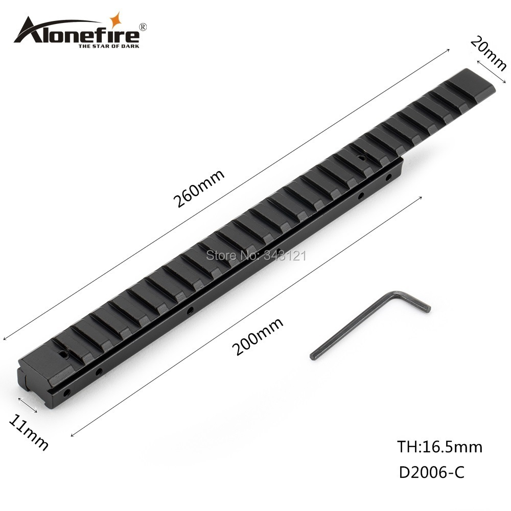 AloneFire 24 Slots 11 To 20mm Picatinny Weaver Rail Mount Adapter Hunting Air Gun Rifle Scope Laser Dovetail Bases Mount D2006-C