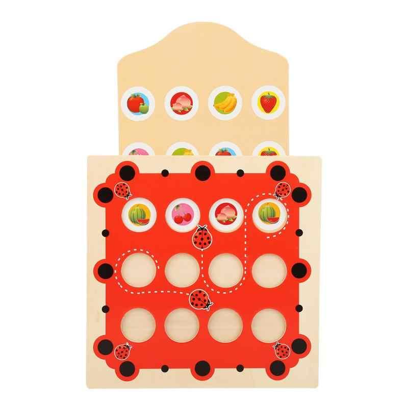 Детская обучающая игра с памятью, шахматная головоломка, мультяшная Монтессори, деревянная головоломка, божья коровка, дизайнерская игрушка для раннего развития, подарки для детей