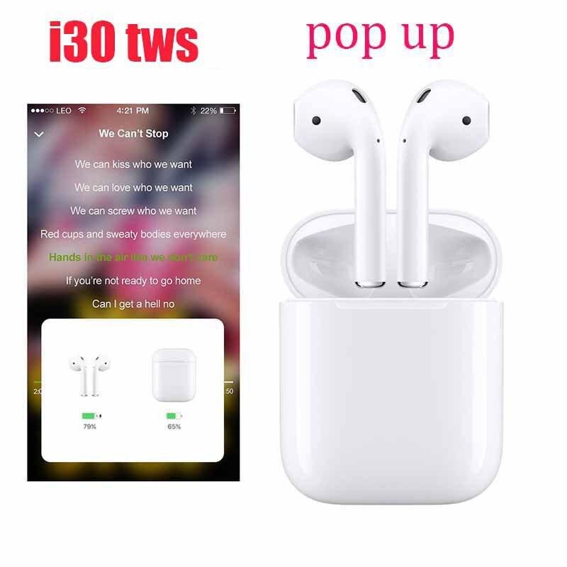 I30 tws Pop Up 1:1 réplique utilisation séparée écouteur sans fil 6d Super basse Bluetooth 5.0 écouteurs i30 Tws Pk i20 i10 i12 W1 puce