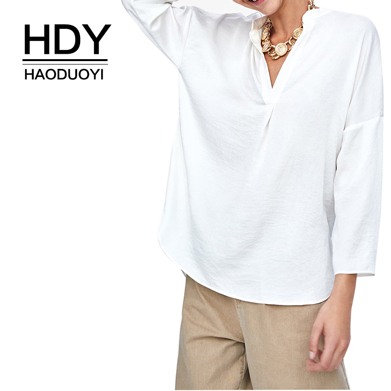 HDY Haoduoyi New Spring Summer Blouse Women Long Sleeve Shirts Fashion Leisure Chiffon Office Ladies White Sexy V-shaped Shirt
