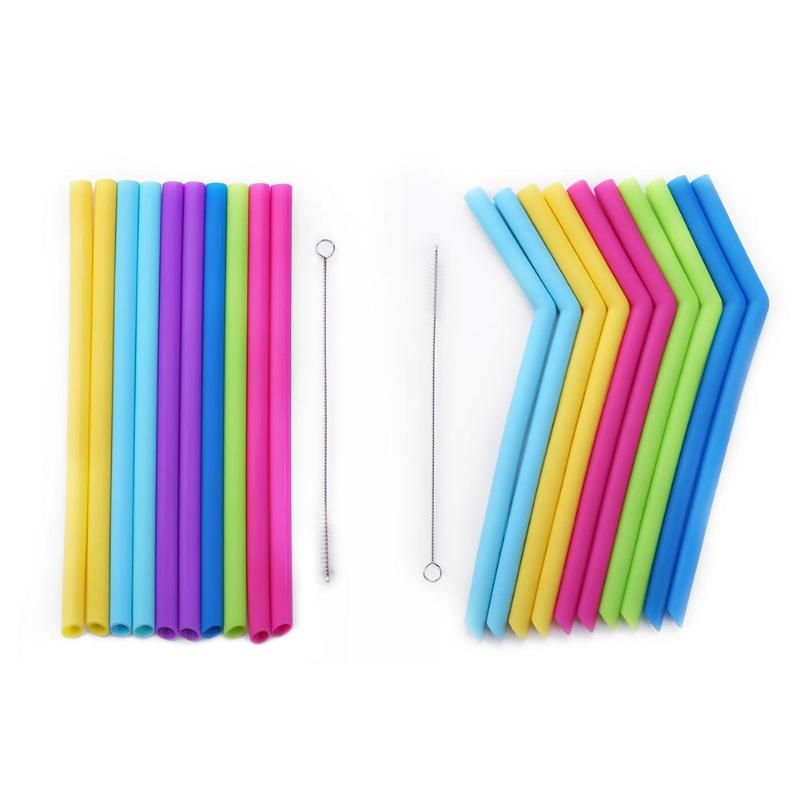 Kids Reusable Absorbent Drinks Juice Cups Straw Children Food Grade Silicone Beverage Straw Inafnt Drinking Training Accessories