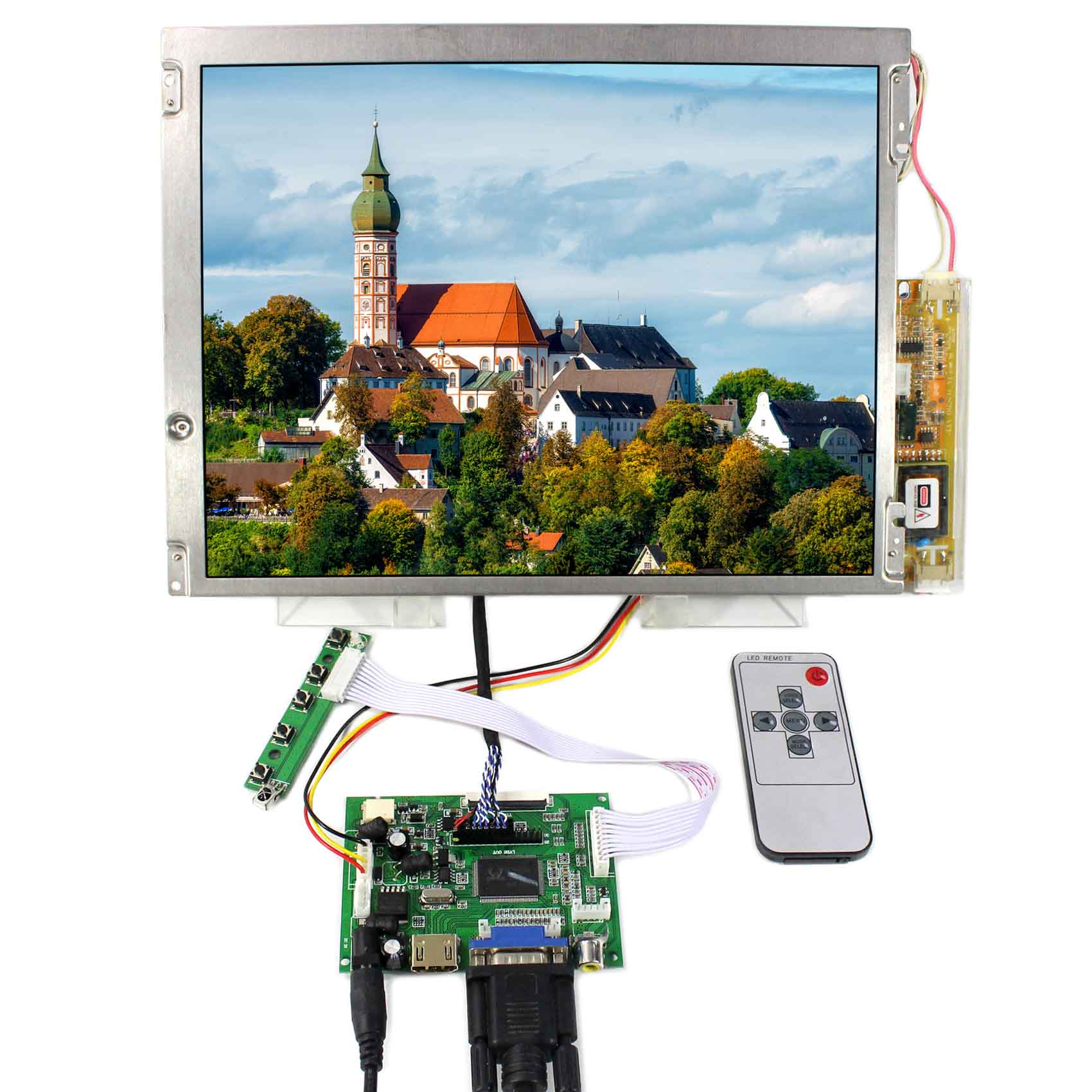 HDMI VGA 2AV LCD Controller Board 20pins LVDS Connector Backlight 2 CCFL VS-TY2662-V1 LQ121S1LG45 800X600 Resolution hdmi vga 2av lcd lvds board lp140wh4 tla1 lvds cable remote control and receiver osd keypad with cable