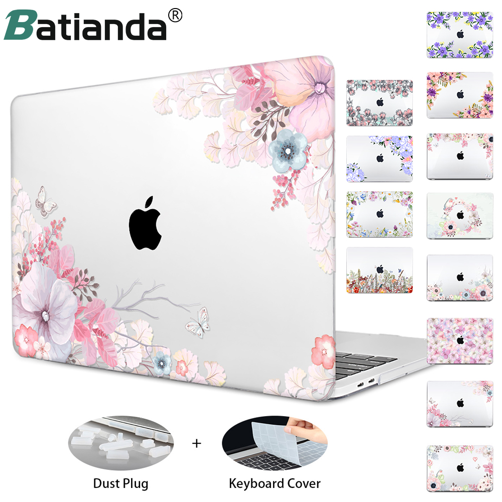 Macbook Air 13 Pro Retina Hard Crystal Floral Case For Macbook Air 11 12 Air 13 A1466 A1932 Retina 13 Pro 13 3 15 Touch Bar Flowers Laptop Case Sleeve