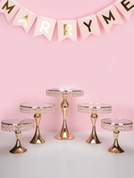 5pcs Luxury Gold tall cake decorating Crystal cake holder stand wedding cupcake plate cupcake sweet dessert table centerpieces