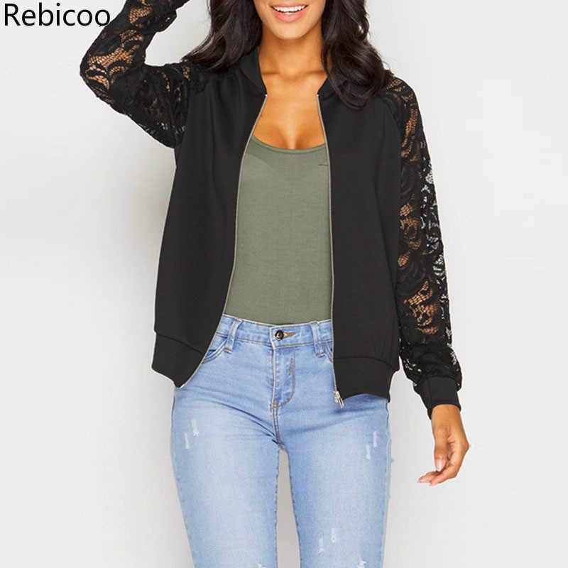 2018 Куртка бомбер куртки осень повседневное для женщин с длинным рукавом черный кружево пальто Верхняя одежда на молнии Chaquetas Mujer