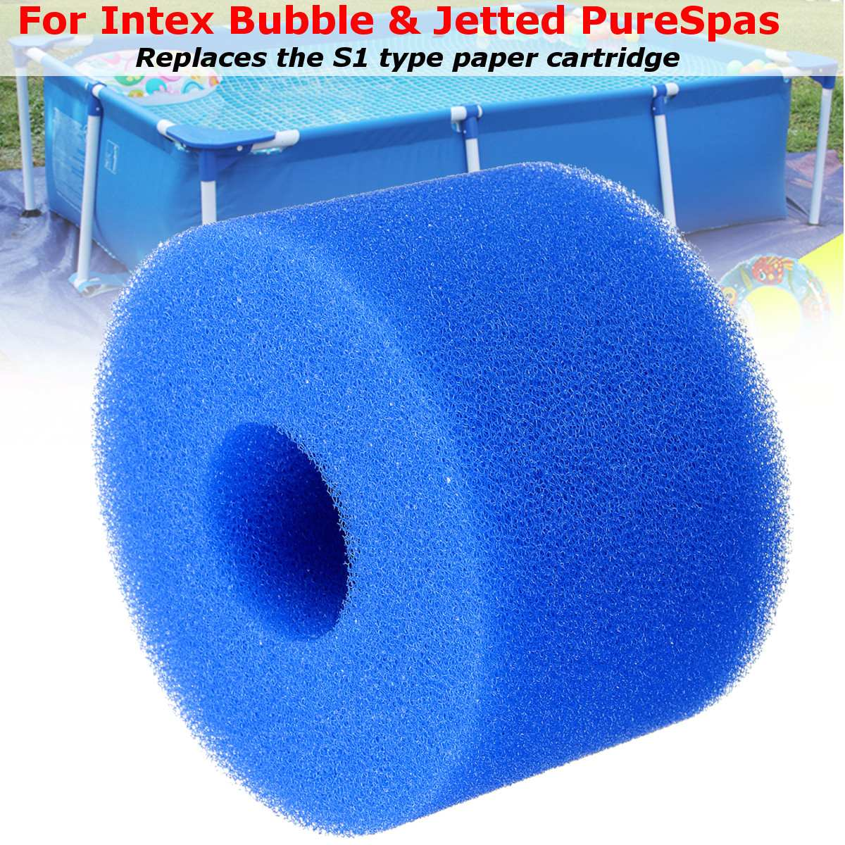 10.8*4*7.3cm Reusable Washable Swimming Pool Filter Foam Sponge Cartridge Foam Suitable Bubble Jetted Pure SPA For Intex S1 Type