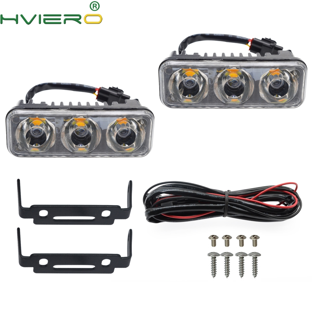 2X Auto Light High Power LED Light Source Waterproof DC 12V Daytime Running Light Auto Lamp White 6000K Turn Signal Bulb