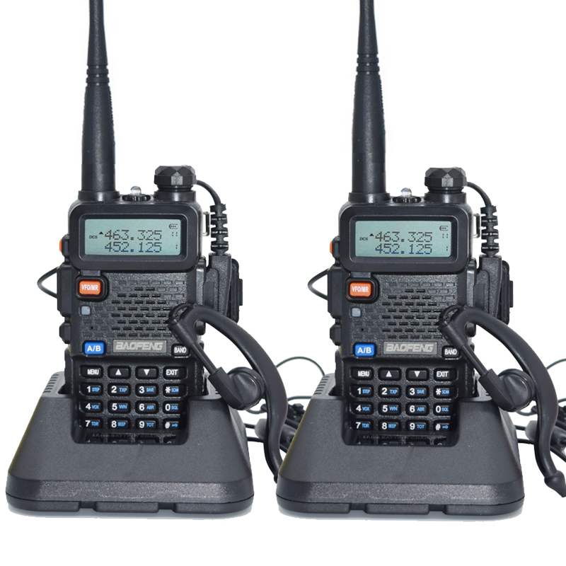 2 pièces Baofeng UV-5R talkie-walkie 128 double bande UHF & VHF 136-174MHz & 400-520MHz Baofeng UV 5R Radio Portable 5W Radio bidirectionnelle
