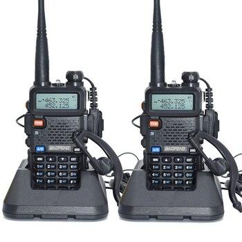2 unids Baofeng UV-5R Walkie Talkie 128 de Banda Dual UHF y VHF 136-174 MHz y 400-520 MHz Baofeng UV 5R Radio Portátil 5 W de Dos Vías Radio