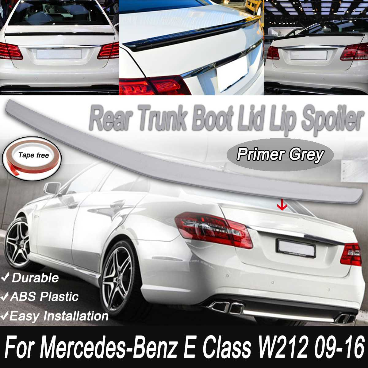 For Mercedes E CLASS W212 Primer Unpainted Gery Rear Trunk Rear Boot Lid Lip Wing Spoiler 2009 16 Up For Benz