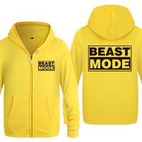 Beast Mode Creative Personality Hoodies Men 2018 Men's Fleece Zipper Cardigans Hooded Sweatshirts