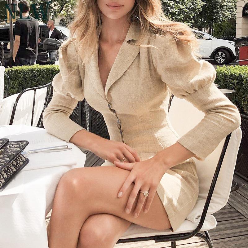 Women Fashion Blazer Dress Casual V Neck High Waist Slim Mini Dress Long Sleeve Button Office Lady Chic Short Dresses