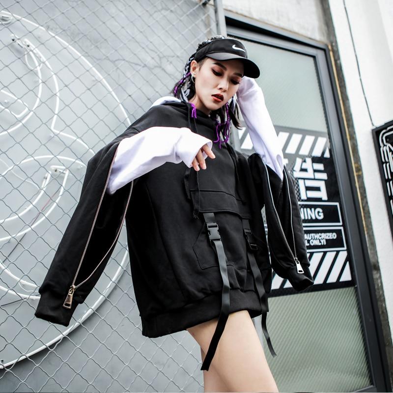 LANMREM 2018, новая мода, большие размеры, черный и белый цвета, с капюшоном, на молнии, с длинным рукавом, толстовка, женские топы, свободные толстовки, Vestido YE89201 - 4