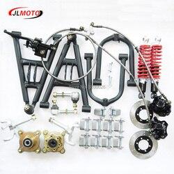 1 Juego de suspensión delantera basculante superior/inferior un brazo, puntal de dirección, husillos de nudillo con ejes de rueda de freno aptos para Buggy ATV DIY