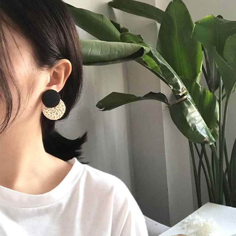 2019 новая Корейская плетеная солома ручной работы элегантные длинные серьги плетение из ротанга лоза плетеные геометрические большие круглые квадратные серьги