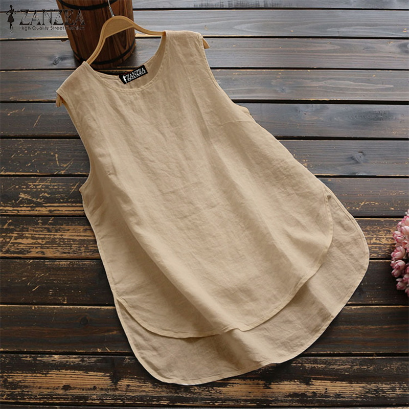 2019 Summer Tops Women Sleeveless Blouse Casual Solid Shirt ZANZEA Ladies Vintage Loose Blusas Cotton Work Office Shirts S-5XL